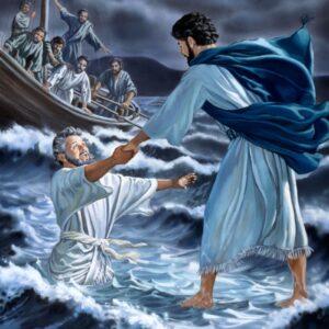 Pedro camina en las aguas y Jesús los salva